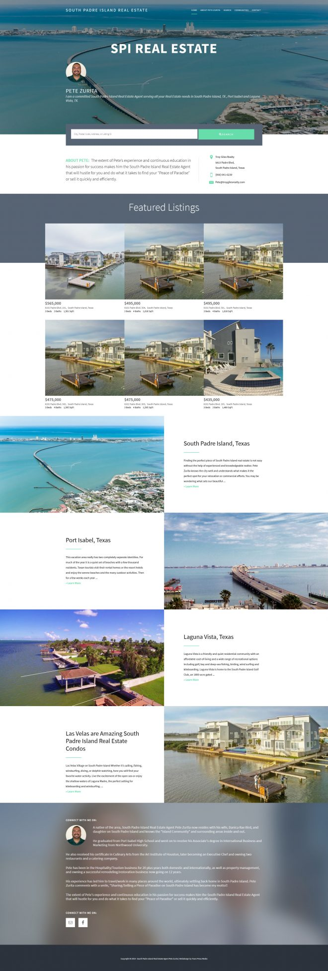South Padre Island Real Estate Website Design by Town Press Media 512-522-9008